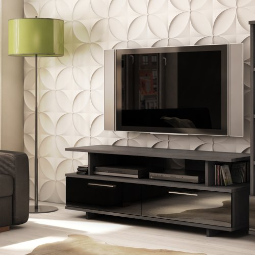 South Shore Reflekt Collection TV Stand, Gray, Oak (Modern Tv Stand)