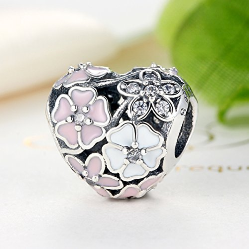 BAMOER 925 Sterling Silver Poetic Daisy Flower Heart Enameled CZ Solid Charms Beads for DIY Bracelet Accessories by BAMOER (Image #2)