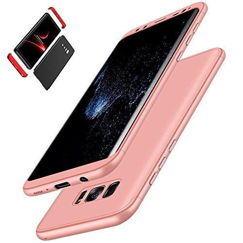 Case Protector Cover Skin Hard (Galaxy S8 Plus Case, I VIKKLY [3 in 1] Embed Ultra-Thin Slim Hybrid PC [Hard] Cover 360 Degree Full Protection Matte Case with Full Coverage Screen Protector for Samsung Galaxy S8 Plus (Rose Gold))