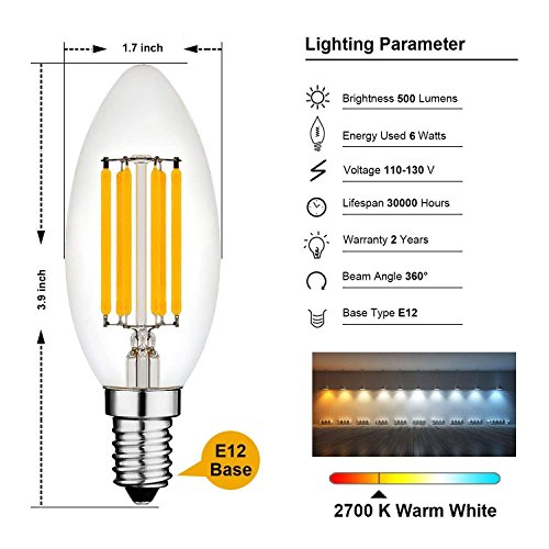 C35 Candelabra Edison LED Light Bulb 6W Equivalent 60W
