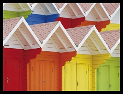 1art1 Huts Poster Art Print and Frame (MDF) Black - Colourful Beach Huts in Scarborough, UK (32 x 24 ()