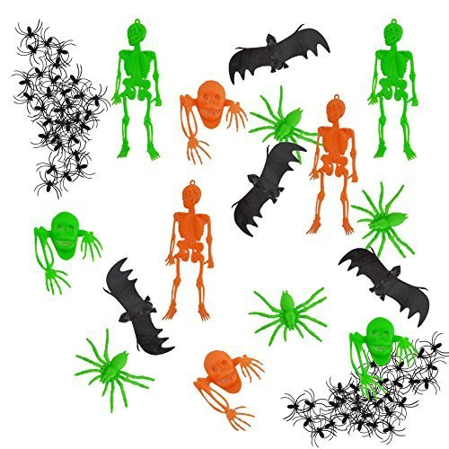 56 x Assorted Horror Set Includes Worms, Bats, Spiders, Insects, Critters, Skulls & Skeletons Realistic Disgusting Scary Halloween Decoration Horror Party Prop Toy Accessories by My Planet (56 Spider Halloween)