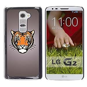PC/Aluminum Funda Carcasa protectora para LG G2 D800 D802 D802TA D803 VS980 LS980 Tiger Portrait Drawing Face Animal Big Cat Wild / JUSTGO PHONE PROTECTOR