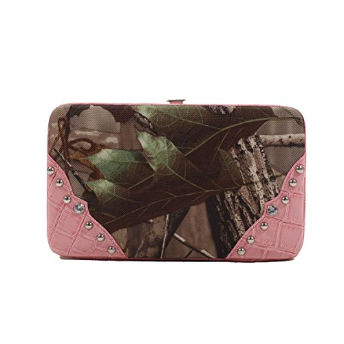 Realtree Clutch Style Snap Wallet, One Size, Realtree APG Camouflage with Pink Trim (Pink Trim Snap)
