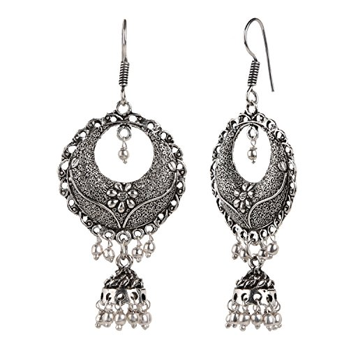 Efulgenz Boho Vintage Antique Ethnic Gypsy Tribal Indian Oxidized Silver Black Chandbali Jhumka Earrings Jewelry (Sterling Silver Earrings Antique)