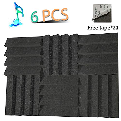 "YWSHUF Acoustic Foam Panels Studio Wedge Tiles Sound Proof Panels Nosie Dampening Foam Acoustical Treatments Foam 6 Pack 12"" 12"" 2"""