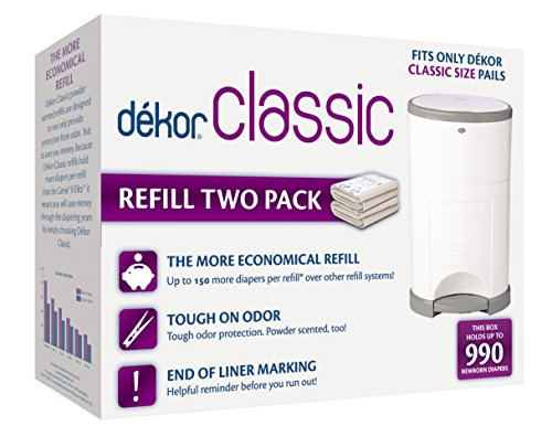 Dekor Classic Diaper Pail Refills | Most Economical Refill System | Quick & Easy to Replace | No Preset Bag Size - Use Only What You Need | Exclusive End-of-Liner Marking | Baby Powder Scent | 2 Count