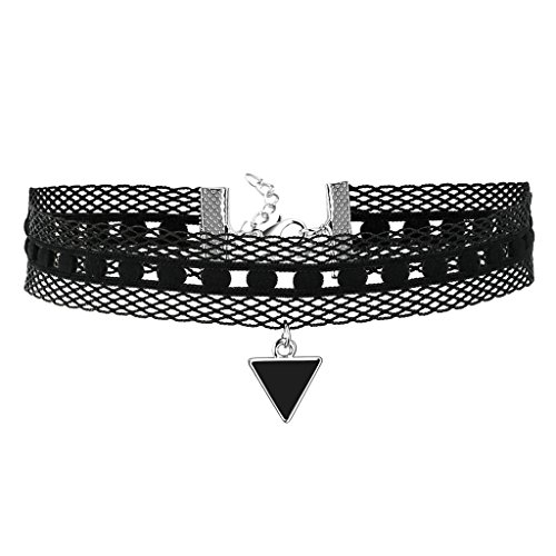 Gnzoe Women Choker, Tattoo Necklace Velvet Collar Triangle Shape Pendant Choker Necklace Silver Black, (Chucky's Wife Costume)