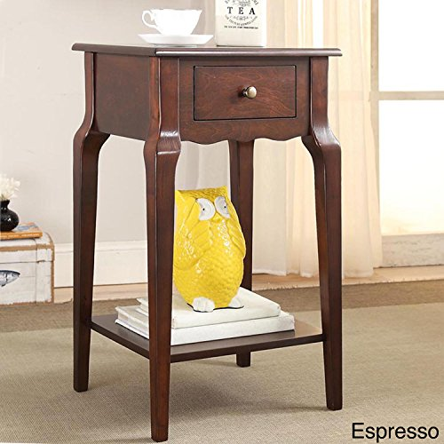 Transitional Daniella 1-Drawer Wood Storage Accent End Table Antique Bronze Drawer Pull Wood Finish (Espresso) ()