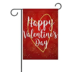 My Little Nest Happy Valentines Day Red Garden Flag Double Sided Fade Resistant Polyester Holiday Decorative House Flag Banner 28x40