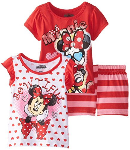 Disney Baby Girls' 3 Piece Minnie Mouse Bowtiful Short Set, Red, 18 Months