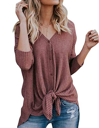 Chenghe Womens Waffle Knit Henley Tops Button Down Tunic Blouse