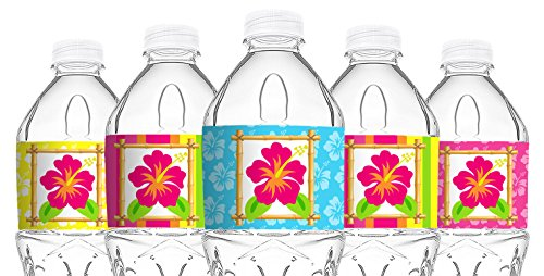 POP parties Luau Bottle Wraps - 20 Luau Water Bottle Labels - Tiki Luau Decorations - Made in The ()