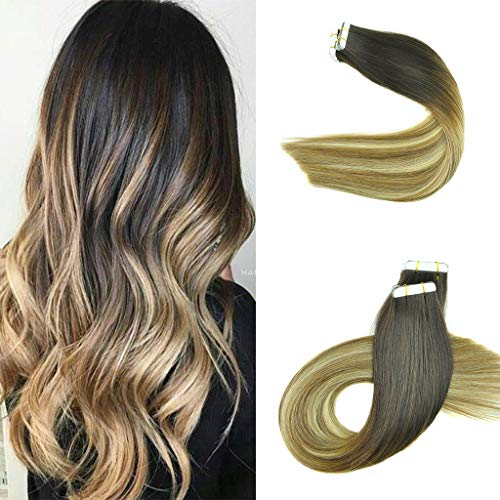 KOCONI Tape In Hair Extensions Remy Human Hair Extensions Balayage Ombre Darkest Brown to Natural Blonde Highlights Hair Extension Tape In(24