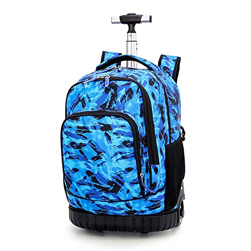 (Lightweight 2-in-1 Luggage Suitcase Men's Blue Camouflage Pattern Wheeled Rolling Backpack/School Bag/Laptop/Travel/Business Luggage for Students Kids Adult Multi-Compartment Case (Blue Camouflage))