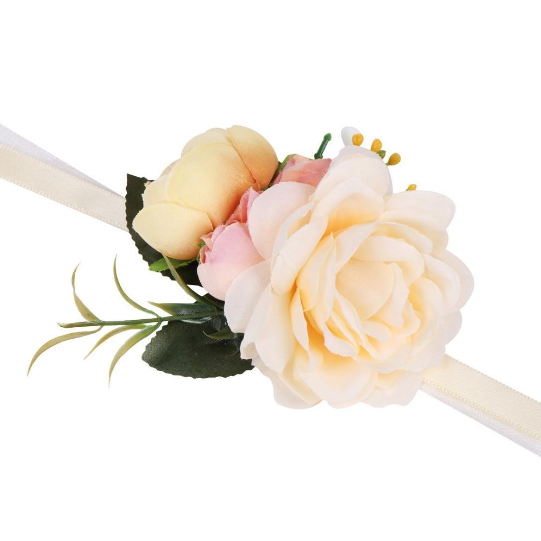 QinMM Bracciale, Romantico rosa simulazione braccialetto fiore matrimonio forniture finte Rose schiuma artificiale Rose decorazione diy per matrimonio (beige)