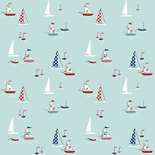(Riley Blake Design Seaside Sailboats Aqua)