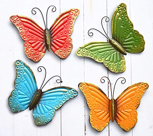 (GIFTME 5 Metal Butterfly Wall Art Decor Set of 4 Colorful Garden Wall Sculptures)