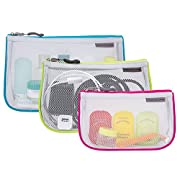 Travelon Set of 3 Assorted Piped Pouches Travel Accessory, Gray