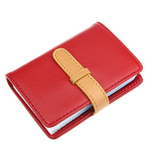 DKER PU Leather Credit Card Holder with 26 Card Slots - Book Style - Size 4.2 X 3 X 0.7 Inches (Red)