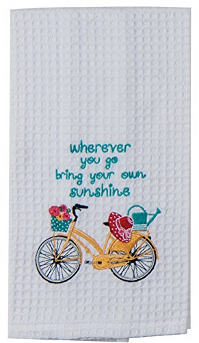 Kay Dee Designs Enjoy The Ride Embroidered Bicycle Waffle Towel, Yellow ()