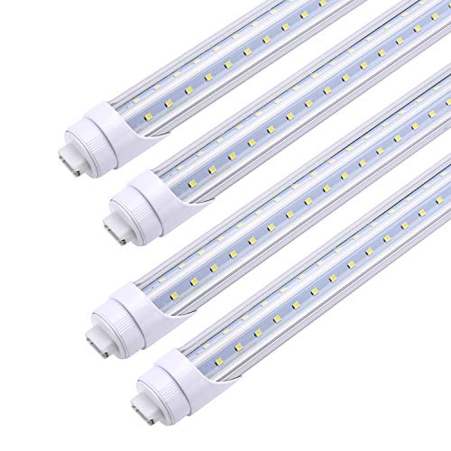 TRLIFE R17D 8 FT LED Bulbs, V Shaped Dual Row Clear Cover 65W 6000K Cold White T8 8 FT LED Tube Light with R17D Rotatable Base, Fluorescent Bulbs Replacement for Shop Warehouse Workshop Garage(4 Pack)