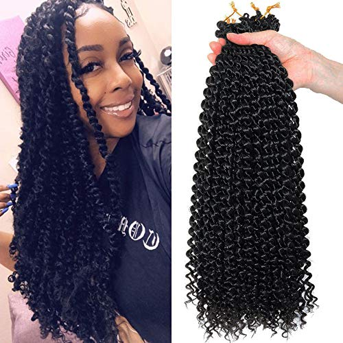 Flyteng Passion Twist Crochet Hair 18 Inch 6 Packs Water Wave Crochet Braids Passion Twist Braiding Hair Extensions Very Soft ()