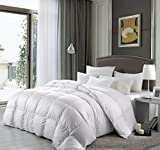 Cal King Size 1500 Thread Count Goose Down Alternative Comforter, 100 Percent Egyptian Cotton, 1500 TC, 750FP, 50Oz, Solid White Down Alt Comforter