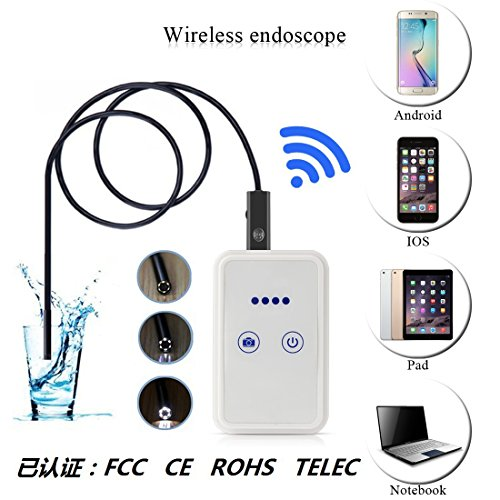 XiYunHan Wireless WiFi Connection Android, IOS Mobile Phone Endoscope,Wireless Camera 2 Megapixel 720P HD, Waterproof IP67 Adjustable LED 850mAh