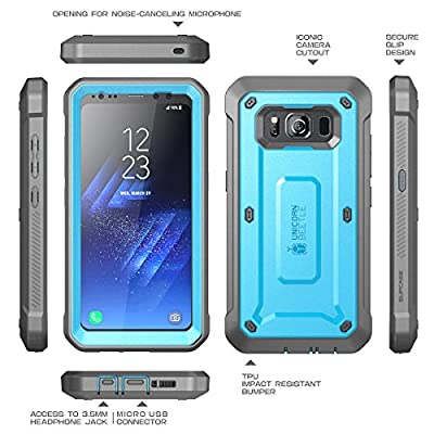 SupCase Galaxy S8 Active Case, Unicorn Beetle PRO Series Full-Body Rugged Holster Case with Built-in Screen Protector for Samsung Galaxy S8 Active (Not Fit Regular Galaxy S8/S8 Plus) (Blue/Gray)
