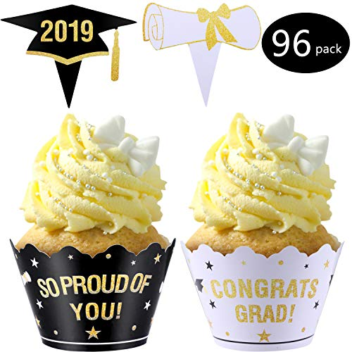 Zhanmai 48 Pieces Class of 2019 Graduation Cupcake Wrappers and 48 Pieces Cake Topper Picks Decoration for Graduation Party Supplies