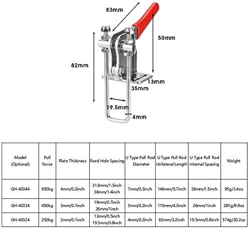 Yosoo トグルクランプ 引っ掛け型 垂直 90度プル U字型 クイッククランプ 押し引きアクションハンド工具 引き力950kg 450kg 250kg ラッチタイプ U型調節可能 溶接加工時 リベット打ち加工用 (HG-40324 225KG)