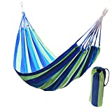 OLIDEAR Wide Hammock Cotton Soft Woven Bed for Supreme Comfort Fabric Travel Camping Hammock for Backyard, Porch, Outdoor or Indoor Use (Green & Blue Stripes)