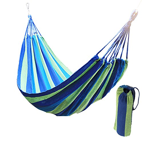 Wide Hammock Cotton Soft Woven Bed for Supreme Comfort Fabric Travel Camping Hammock for Backyard, Porch, Outdoor or Indoor Use (Green & Blue Stripes)