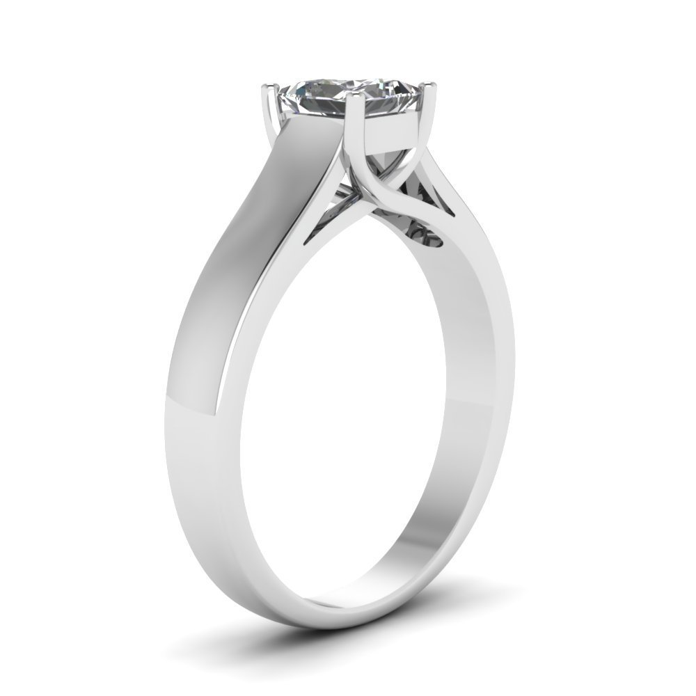 tusakha 1.00 ct Princess Cut Simulated Diamond 14k White Gold Plated Sterling Silver Base Solitaire Engagement Ring Free Size
