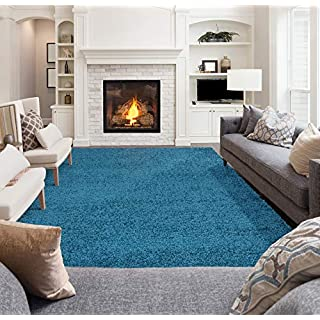 """Ottomanson Soft Cozy Color Solid Shag Area Rug Contemporary Living and Bedroom Soft Shag Area Rug, Turquoise Blue, 5'3"""" L x 7'0"""" W"""