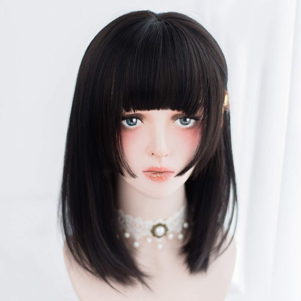 Wangwdn Short Black Hair Japanese Harajuku Soft Girl Lolita Wig Female Girl Wave Hair Halloween Anime Cosplay Wig Buy Online In Guernsey At Desertcart