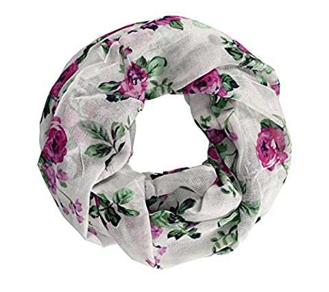 Peach Couture Womens Vintage Floral Rose Sheer Infinity Scarf Circle Loop Magenta Green (Magenta Green)