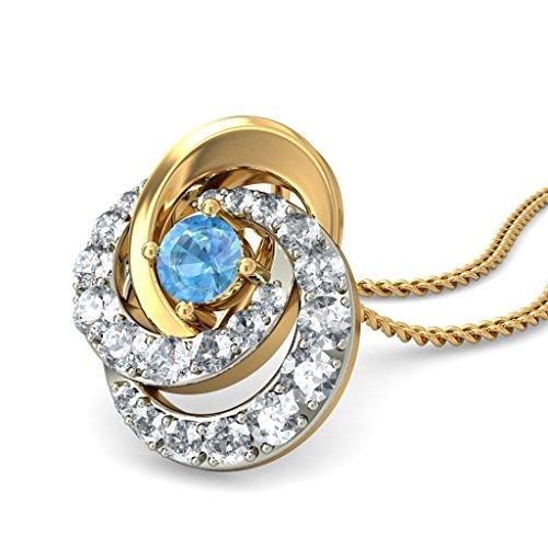 Or jaune 18K 0,55CT TW Round-cut-diamond (IJ   SI) et topaze bleue Pendentif