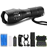 Led Flashlight, T6 Zoomable Handheld 1000 High Lumens Tactical Flashlight, Brightest Flash Light with 5 Light Modes for Outdoor Torch Light (2pcs Batteries & T6 Black LED Tactical Flashlight Set)