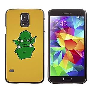 Qstar Arte & diseño plástico duro Fundas Cover Cubre Hard Case Cover para SAMSUNG Galaxy S5 V / i9600 / SM-G900F / SM-G900M / SM-G900A / SM-G900T / SM-G900W8 ( Green Monster Alien Drawing Art Comic Cartoon)