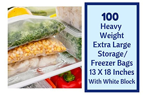 Extra Large Heavy Weight Freezer Zipper Bags 13''X18'' Zip & Lock Storage Jumbo 2.5 Gallon Quality Bags With White Block 100 Ct