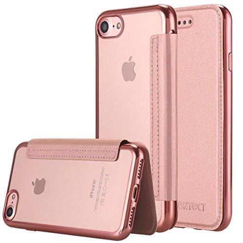 iPhone 7 Hülle,iPhone 7 Case,LONTECT Leder Flip Case Hülle mit Karten Slot & Clear weiche TPU Abdeckung für iPhone 7 4.7 Zoll-Rose Gold