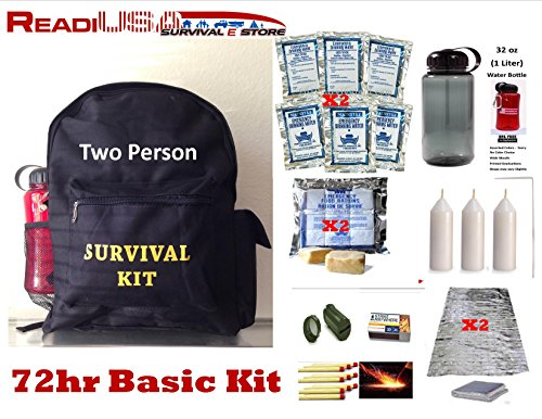 Readi-USA-Get-Started-72Hr-Basic-Survival-Kit-Back-Pack-Food-Rations-Water-with-32-oz-BPA-Free-Water-Bottle-Two-Person