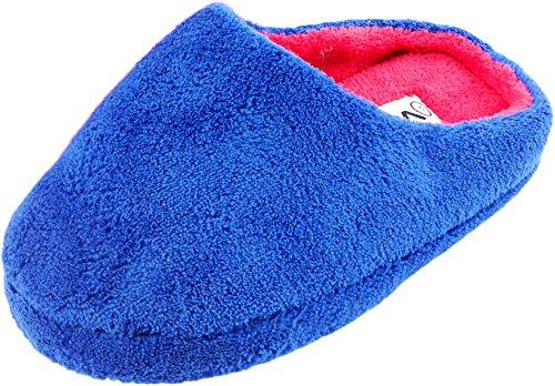 Women's Slippers Fleecy Microfibre with Non-Slip Sole Blue - BLUE 0BsNcqpK