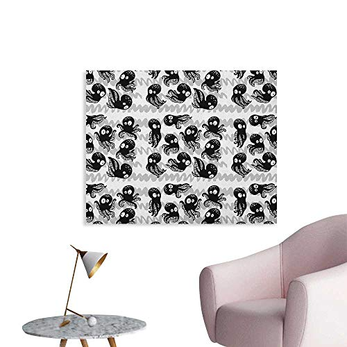 Anzhutwelve Octopus Home Decor Wall Cartoon Ocean Animals in Various Expressions Sleepy Curious Zigzag Backdrop Poster Print Black Grey White W28 xL20 (Lana Del Rey Tv In Black & White)