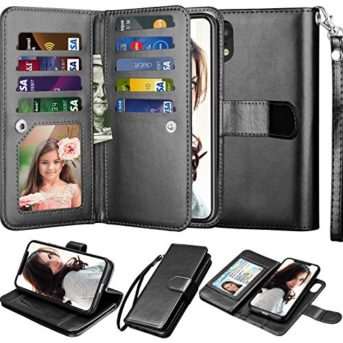 Njjex iPhone XR Wallet Case, for iPhone XR 6.1 Inch Case, PU Leather [9 Card Slots] ID Credit Holder Folio Flip Cover [Detachable][Kickstand] Magnetic Phone Case & Lanyard for iPhone XR 2018 [Black]