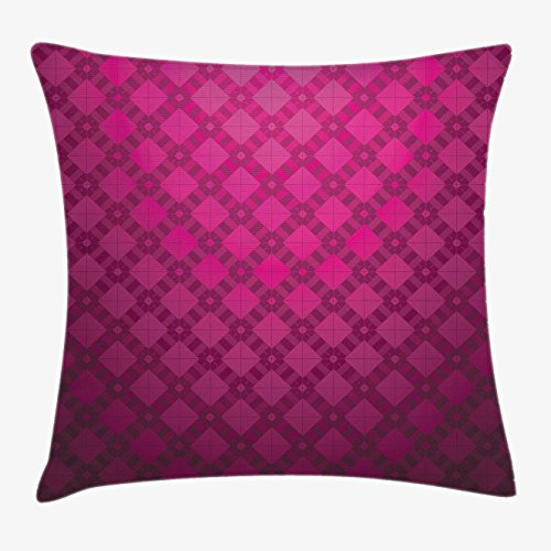 Magenta Decor Throw Pillow Cushion Cover by Ambesonne, Medieval Period Textured Damask Geometric Linked British Nostalgic Display , Decorative Square Accent Pillow Case, 18 X18 Inches, Wine Purple (Pillow Magenta)