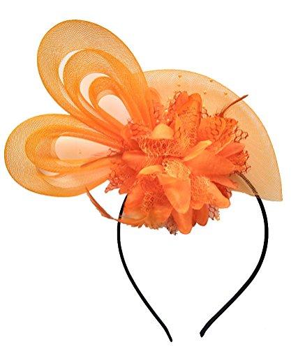 Women's Fascinators Hat Small Hairpin Feather Mesh Flower Hairclip (Z Orange) (Cap Pin Womens)