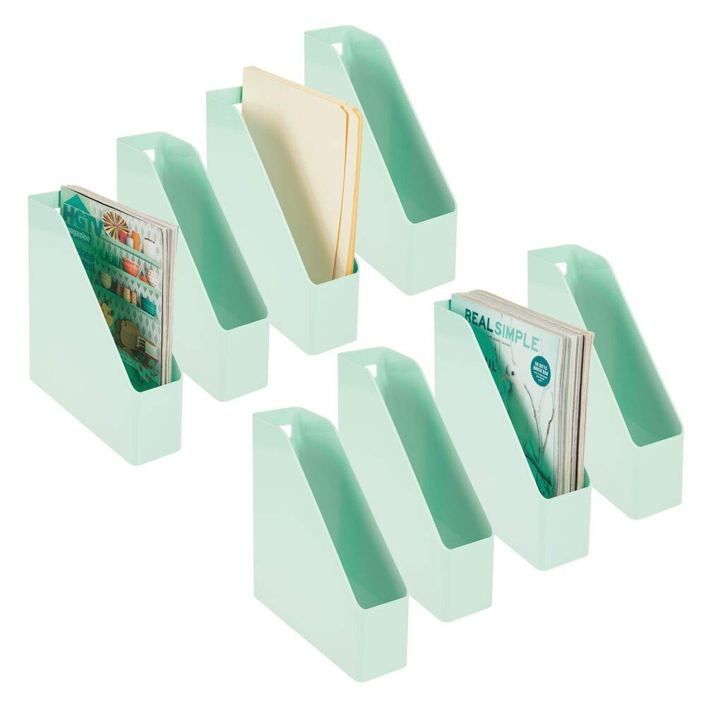 mDesign Plastic File Folder Bin Storage Organizer - Vertical with Handle - Holds Notebooks, Binders, Envelopes, Magazines - Container for Home Office and Work Desktops - 8 Pack - Mint Green by mDesign